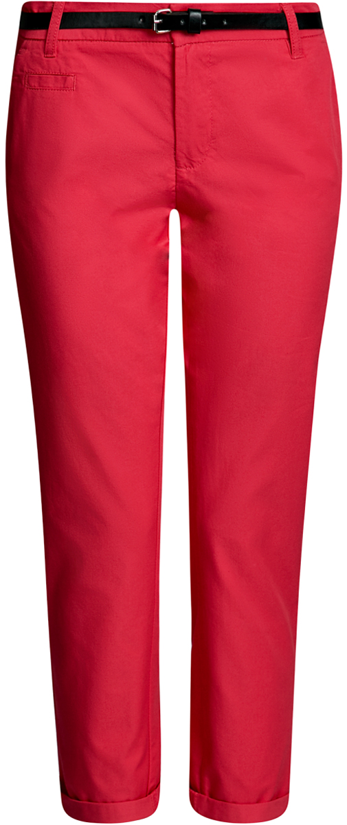 Брюки женские oodji Ultra, цвет: ярко-розовый. 11706193B/42841/4D00N. Размер 38-170 (44-170)11706193B/42841/4D00NЖенские брюки oodji Ultra выполнены из высококачественного материала. Модель-чинос стандартной посадки застегивается на пуговицу в поясе и ширинку на застежке-молнии. Пояс имеет шлевки для ремня. Спереди брюки дополнены втачными карманами, сзади - прорезными на пуговицах. К модели прилагается ремешок.