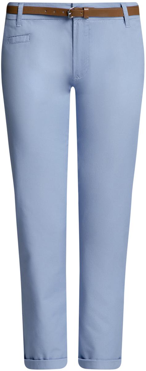 Брюки женские oodji Ultra, цвет: голубой. 11706193B/42841/7000N. Размер 34-170 (40-170)11706193B/42841/7000NЖенские брюки oodji Ultra выполнены из высококачественного материала. Модель-чинос стандартной посадки застегивается на пуговицу в поясе и ширинку на застежке-молнии. Пояс имеет шлевки для ремня. Спереди брюки дополнены втачными карманами, сзади - прорезными на пуговицах. К модели прилагается ремешок.