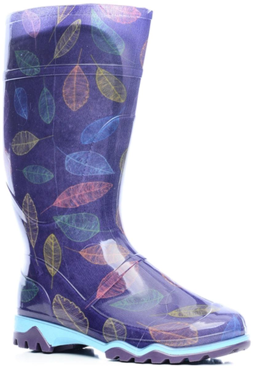 Сапоги резиновые женские Дюна, цвет: фиолетовый. 370 РУ (НТП)_листья на фиолетовом. Размер 40370 РУ (НТП)_листья на фиолетовомРезиновые сапоги от Дюна - превосходно защитят ваши ноги от промокания в дождливый день. Модель полностью выполнена из ПВХ, обладающего высокой эластичностью, 100% водонепроницаемостью, амортизационными свойствами и герметичностью, и оформлена ярким оригинальным принтом. Мягкий вынимающийся сапожок из искусственного меха не даст ногам замерзнуть и обеспечит комфорт. Ширина голенища компенсирует отсутствие застежек. Рельефная поверхность подошвы гарантирует отличное сцепление с любой поверхностью. Удобные сапоги поднимут вам настроение в дождливую погоду!