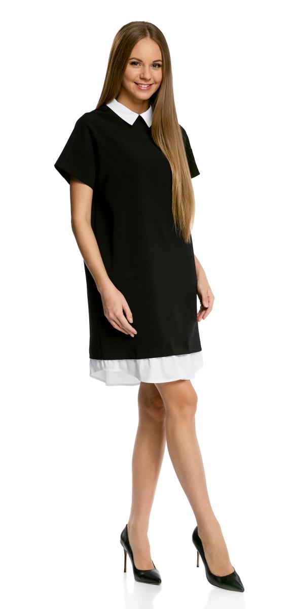 Платье oodji Ultra, цвет: черный. 11911012/46349/2900N. Размер 36-164 (42-164)11911012/46349/2900NОригинальное платье oodji Ultra А-силуэта выполнено из комбинированного материала и дополнено контрастной вставкой по низу. Модель мини-длины с отложным воротничком и короткими рукавами застегивается на скрытую молнию на спинке. Контрастные воротничок и вставка по низу изделия создают эффект многослойности.