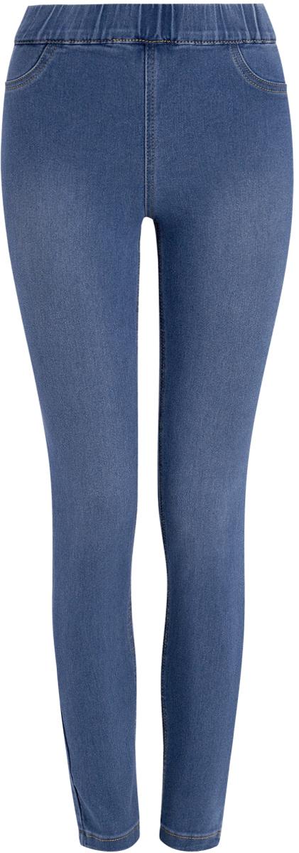 Джинсы женские oodji Ultra, цвет: синий. 12104043-5B/45468/7500W. Размер 26-30 (42-30)12104043-5B/45468/7500WЖенские облегающие джинсы oodji Ultra изготовлены из эластичного хлопка с добавлением полиэстера и вискозы. Джинсы-скинни имеют широкую эластичную резинку на поясе. Сзади расположены два накладных кармана. Изделие оформлено имитацией ширинки и втачных карманов спереди.