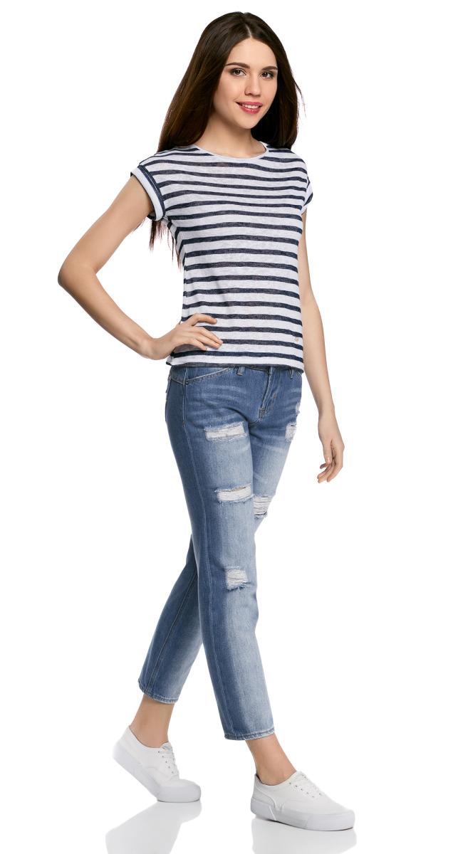 Джинсы женские oodji Ultra, цвет: синий джинс. 12106142-1/46654/7500W. Размер 27-32 (44-32)12106142-1/46654/7500WЖенские джинсы oodji Ultra выполнены из высококачественного материала. Модель-бойфренды средней посадки по поясу застегиваются на пуговицу и имеют ширинку на застежке-молнии, а также шлевки для ремня. Джинсы имеют классический пятикарманный крой: спереди - два втачных кармана и один маленький накладной, а сзади - два накладных кармана. Модель оформлена потертостями.