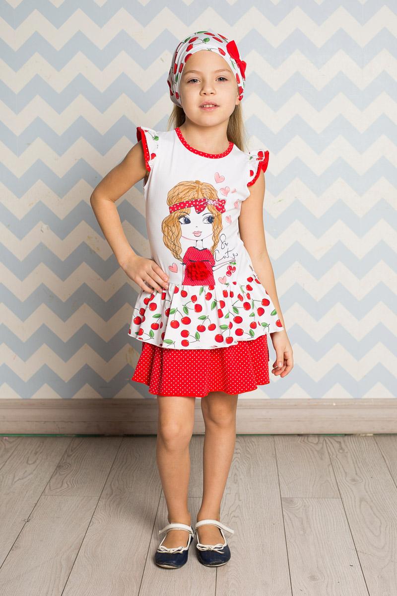 Платье для девочки Sweet Berry, цвет: белый, красный. 714155. Размер 128714155Яркое платье для девочки Sweet Berry выполнено из высококачественного эластичного хлопка. Модель приталенного кроя с двухслойной юбкой-воланом и двухслойными рукавами-крылышками оформлена аппликацией и принтами в горошек и вишенку. Круглый вырез горловины дополнен мягкой эластичной бейкой.