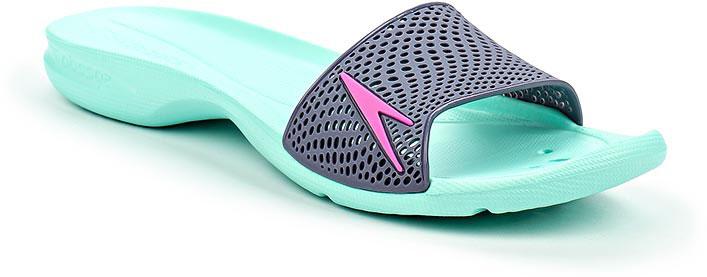 Шлепанцы женские Speedo Atami II Max, цвет: бирюзовый, серый. 8-09188B558-B558. Размер 8 (42)8-09188B558-B558Оригинальные женские шлепанцы Atami II Max от Speedo с перфорированной верхней частью изделия, благодаря которой быстро удаляется влага и обеспечивается дополнительная вентиляция, изготовлены из термополиуретана и оформлены символикой бренда. Рифление на верхней поверхности подошвы, выполненной из ЭВА материала, предотвращает выскальзывание ноги, отверстия в области носка предназначены для слива воды. Специальный рисунок подошвы гарантирует оптимальное сцепление при ходьбе как по сухой, так и по влажной поверхности. Удобные шлепанцы прекрасно подойдут для похода в бассейн или на пляж.