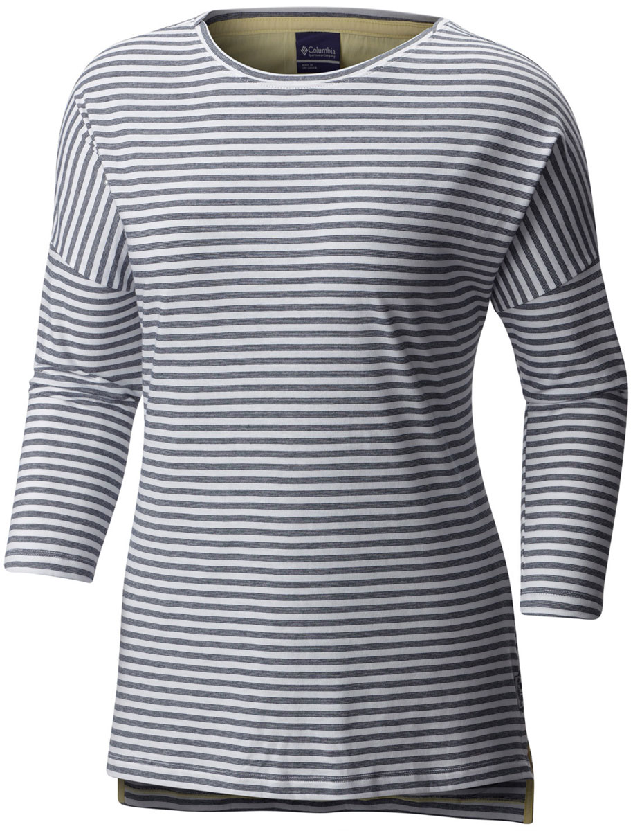 Футболка с длинным рукавом женская Columbia Harborside 3/4 Sleeve Shirt Jumper, цвет: темно-синий, белый. 1709561-464. Размер M (46)1709561-464Стильная женская футболка Columbia изготовлена из высококачественных материалов с оригинальной текстурой. Футболка с круглым вырезом горловины и рукавами ? оформлена принтом в полоску.