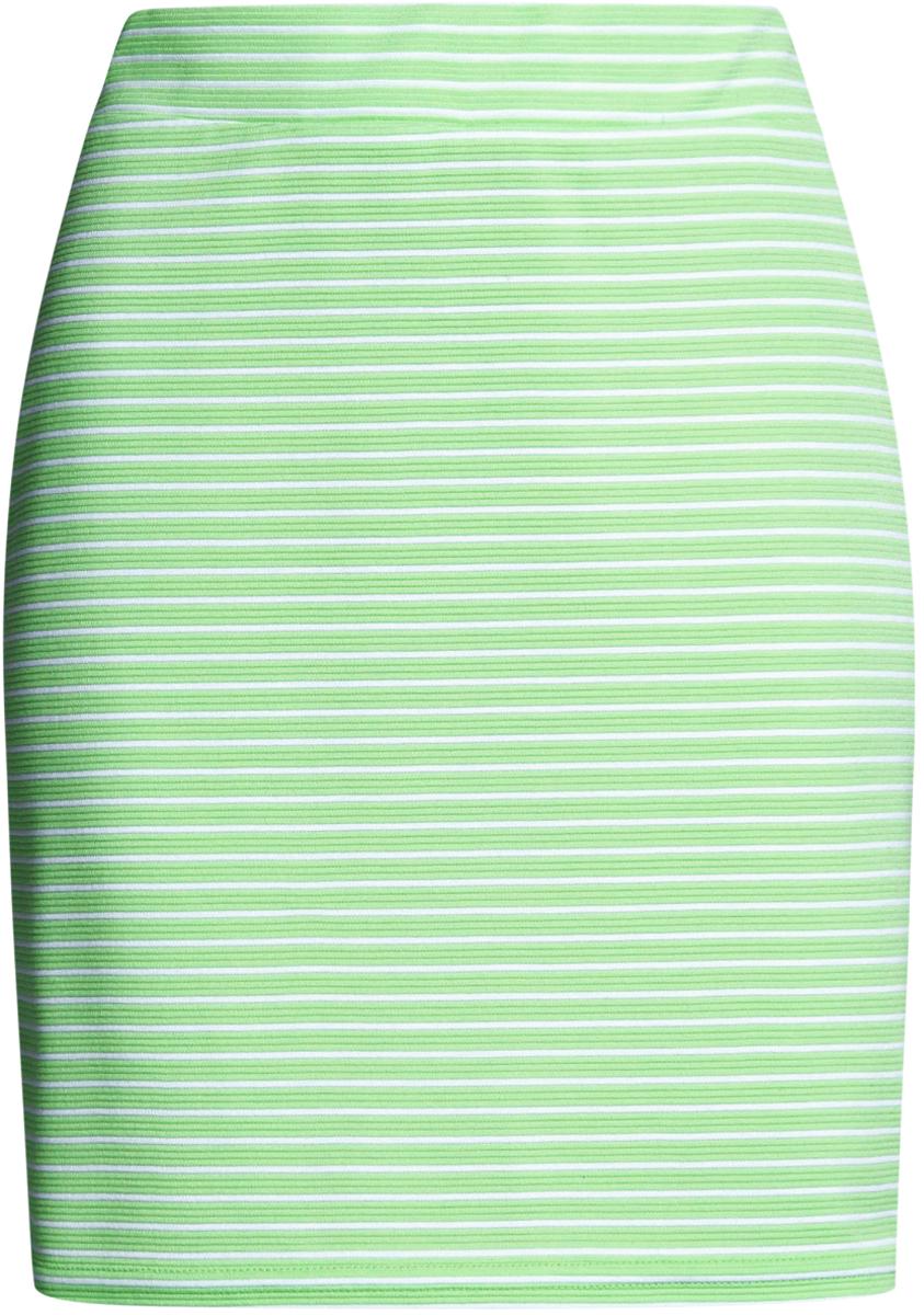 Юбка oodji Ultra, цвет: зеленый, белый. 14101001-2B/46674/6A10S. Размер XS (42)14101001-2B/46674/6A10SМодная мини-юбка выполнена из высококачественного трикотажа. Модель оформлена принтом в полоску.