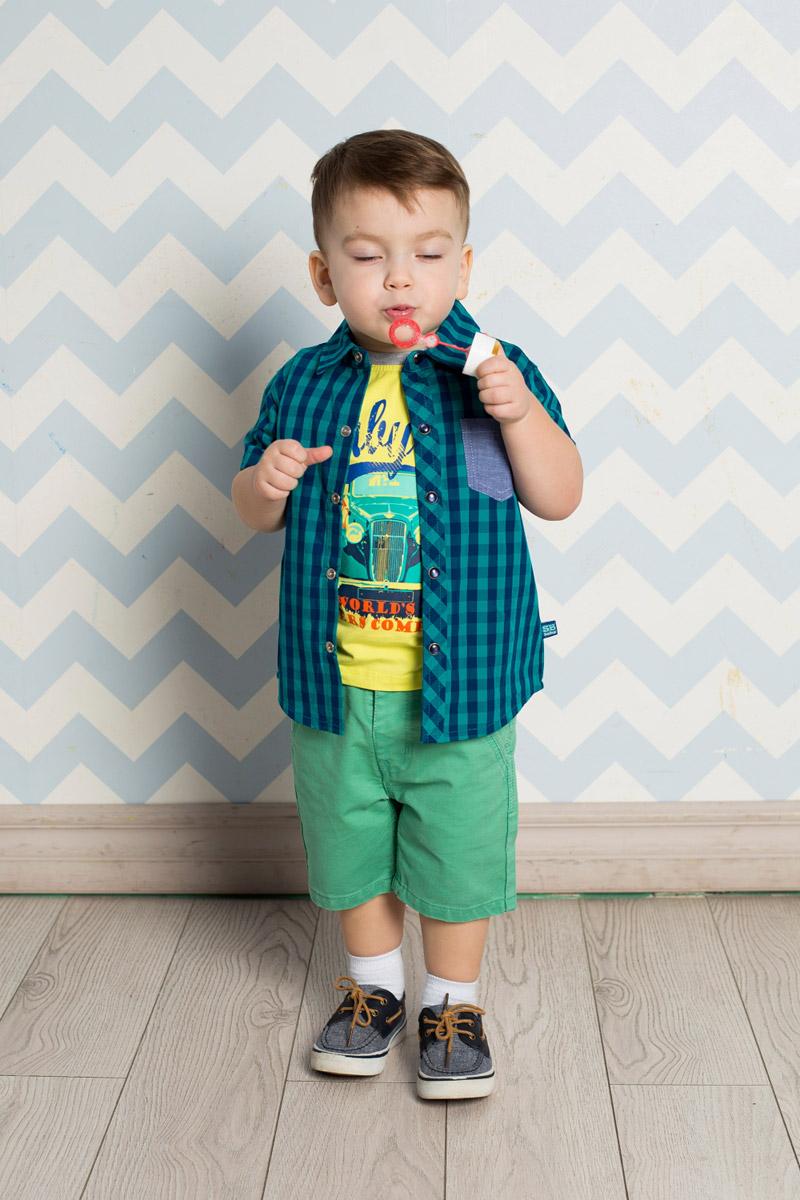Рубашка для мальчика Sweet Berry Baby, цвет: бирюзовый, темно-синий. 711015. Размер 80711015Стильная рубашка для мальчика Sweet Berry, изготовленная из натурального хлопка с принтом в клетку, станет отличным дополнением к гардеробу вашего ребенка. Модель прямого кроя с короткими рукавами и отложным воротничком застегивается на кнопки. Изделие дополнено накладным карманом контрастного цвета.