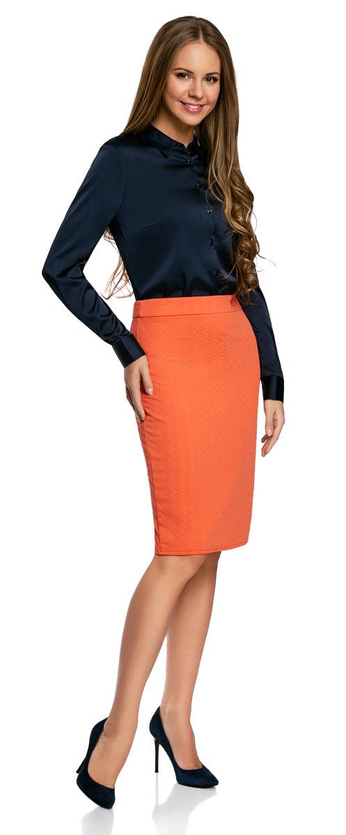 Юбка oodji Ultra, цвет: оранжевый. 14101088-1/42588/5500N. Размер XXS (40)14101088-1/42588/5500NСтильная юбка-карандаш выполнена из фактурной ткани. Сзади модель застегивается на потайную застежку-молнию и дополнена шлицей.
