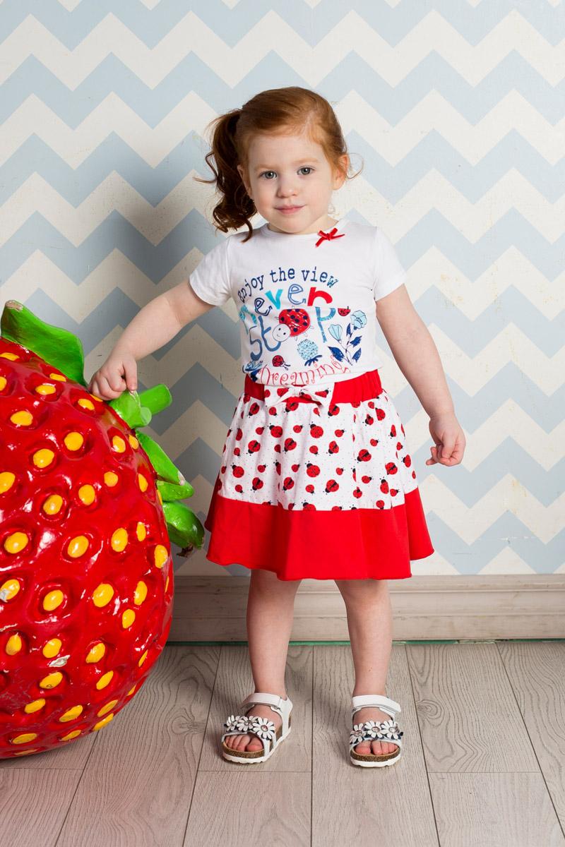 Футболка для девочки Sweet Berry Baby, цвет: белый. 712057. Размер 92712057Яркая футболка для девочки Sweet Berry выполнена из качественного эластичного хлопка. Модель с круглым вырезом горловины и короткими рукавами оформлена оригинальным принтом. Воротник дополнен мягкой эластичной бейкой и оформлен небольшим бантиком.