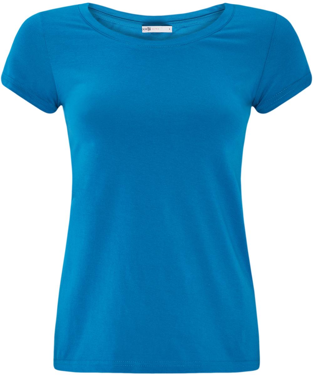 Футболка женская oodji Ultra, цвет: синий. 14701008B/46154/7501N. Размер S (44)14701008B/46154/7501NМодная женская футболка oodji Ultra изготовлена из натурального хлопка.Модель с круглым вырезом горловины и короткими рукавами выполнена в лаконичном дизайне.