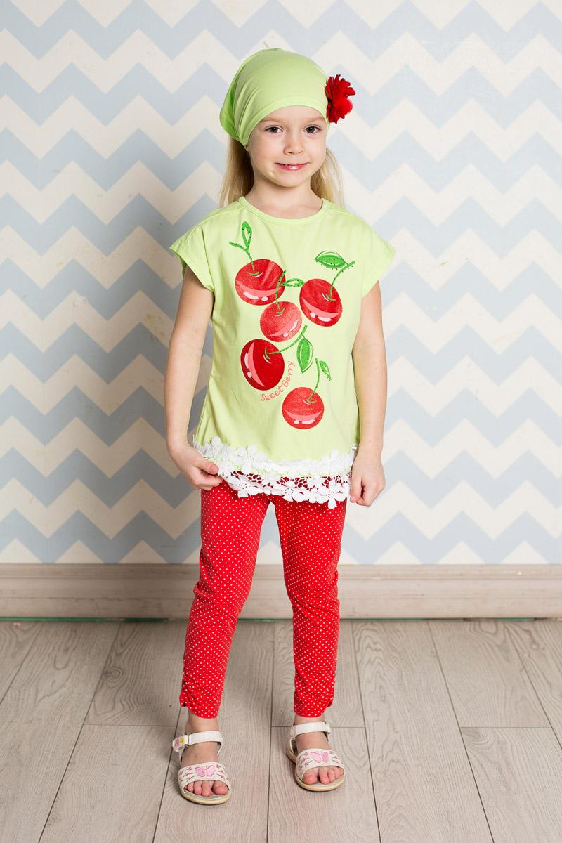 Футболка для девочки Sweet Berry, цвет: салатовый. 714149. Размер 128714149Яркая футболка для девочки Sweet Berry, выполненная из качественного эластичного хлопка, станет отличным дополнением к детскому гардеробу. Модель прямого кроя с круглым вырезом горловины оформлена оригинальным принтом и кружевом по низу. Воротник дополнен мягкой эластичной бейкой.