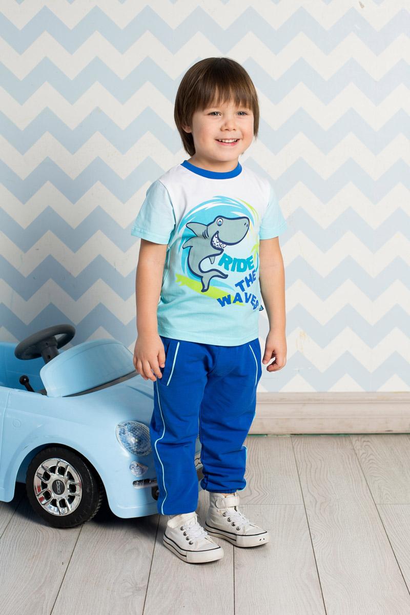 Футболка для мальчика Sweet Berry Baby, цвет: белый, голубой. 711044. Размер 92711044Яркая футболка для мальчика Sweet Berry, выполненная из качественного эластичного хлопка градиентного цвета, станет отличным дополнением к детскому гардеробу. Модель с круглым вырезом горловины оформлена оригинальным принтом. Воротник дополнен мягкой трикотажной резинкой контрастного цвета.