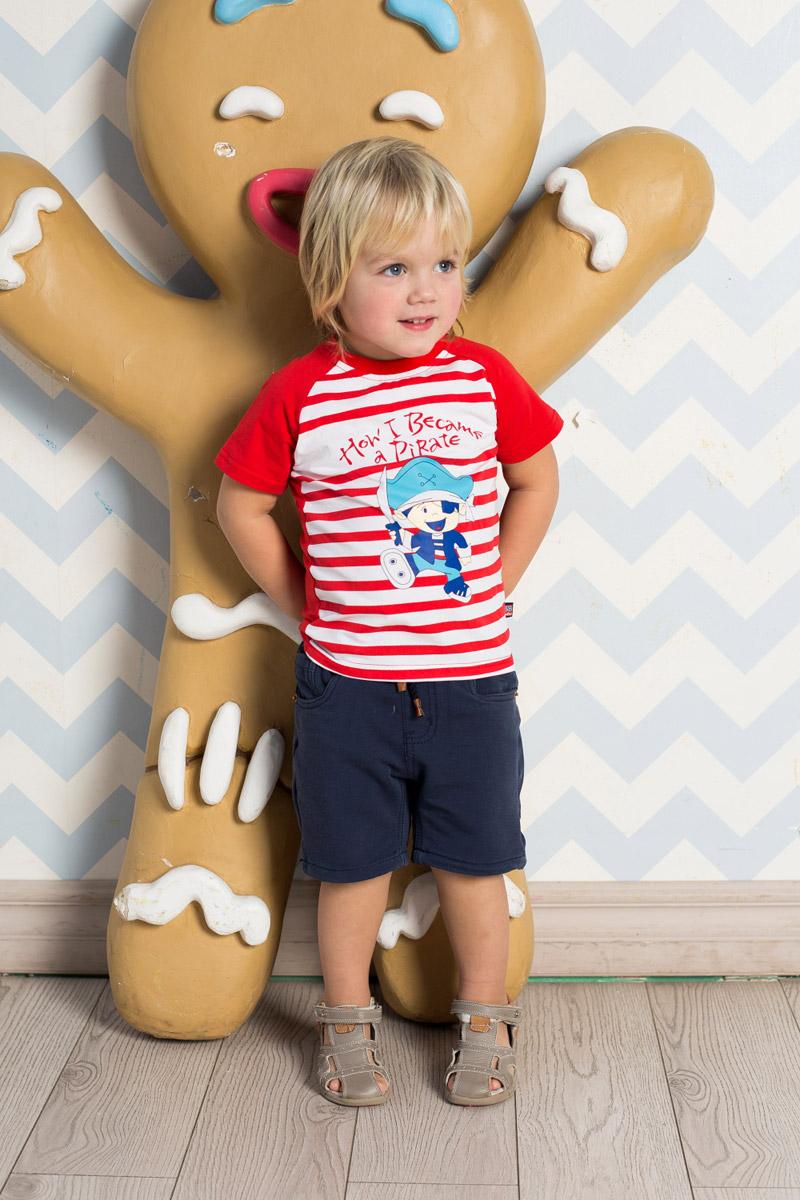 Футболка для мальчика Sweet Berry Baby, цвет: белый, красный. 711074. Размер 86711074Яркая футболка для мальчика Sweet Berry, выполненная из качественного эластичного хлопка в полоску, станет отличным дополнением к детскому гардеробу. Модель с круглым вырезом горловины и рукавами-реглан оформлена аппликацией. Воротник дополнен мягкой трикотажной резинкой.