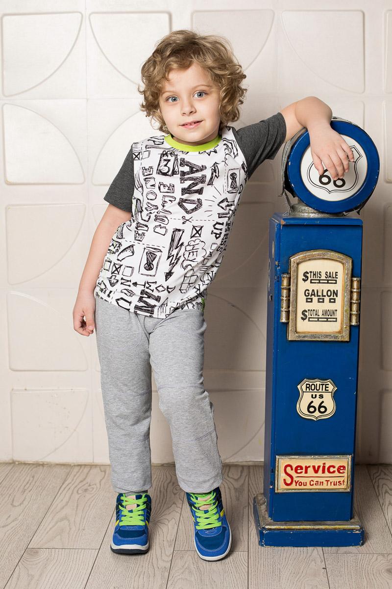 Футболка для мальчика Sweet Berry, цвет: белый. 713115. Размер 116713115Яркая футболка для мальчика Sweet Berry, выполненная из качественного эластичного хлопка, станет отличным дополнением к детскому гардеробу. Модель с круглым вырезом горловины оформлена оригинальным принтом. Рукава и мягкая резинка на воротнике выполнены из материала контрастных цветов.