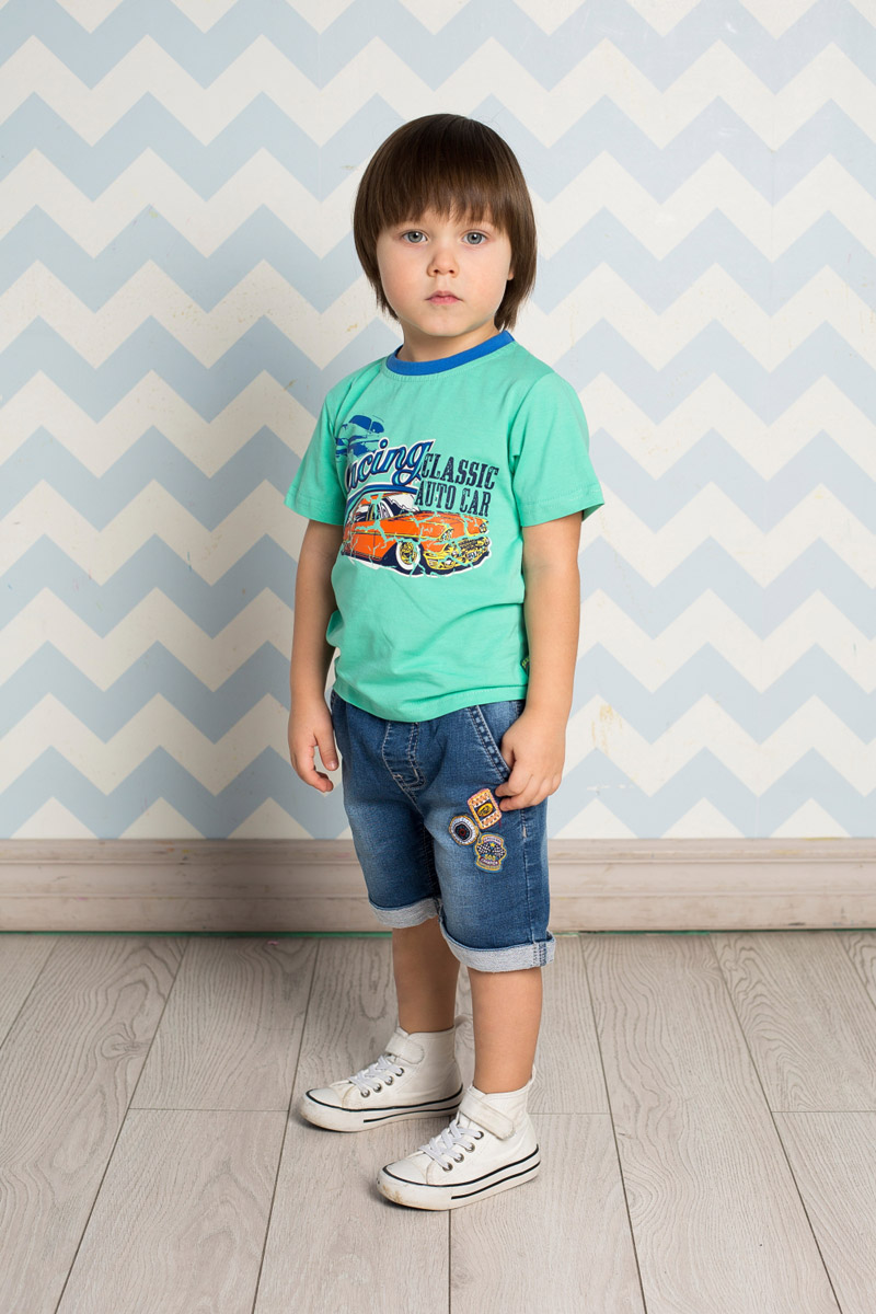 Футболка для мальчика Sweet Berry Baby, цвет: бирюзовый. 711005. Размер 98711005Яркая футболка для мальчика Sweet Berry, выполненная из качественного эластичного хлопка, станет отличным дополнением к детскому гардеробу. Модель с круглым вырезом горловины оформлена оригинальным принтом. Воротник дополнен мягкой трикотажной резинкой контрастного цвета.