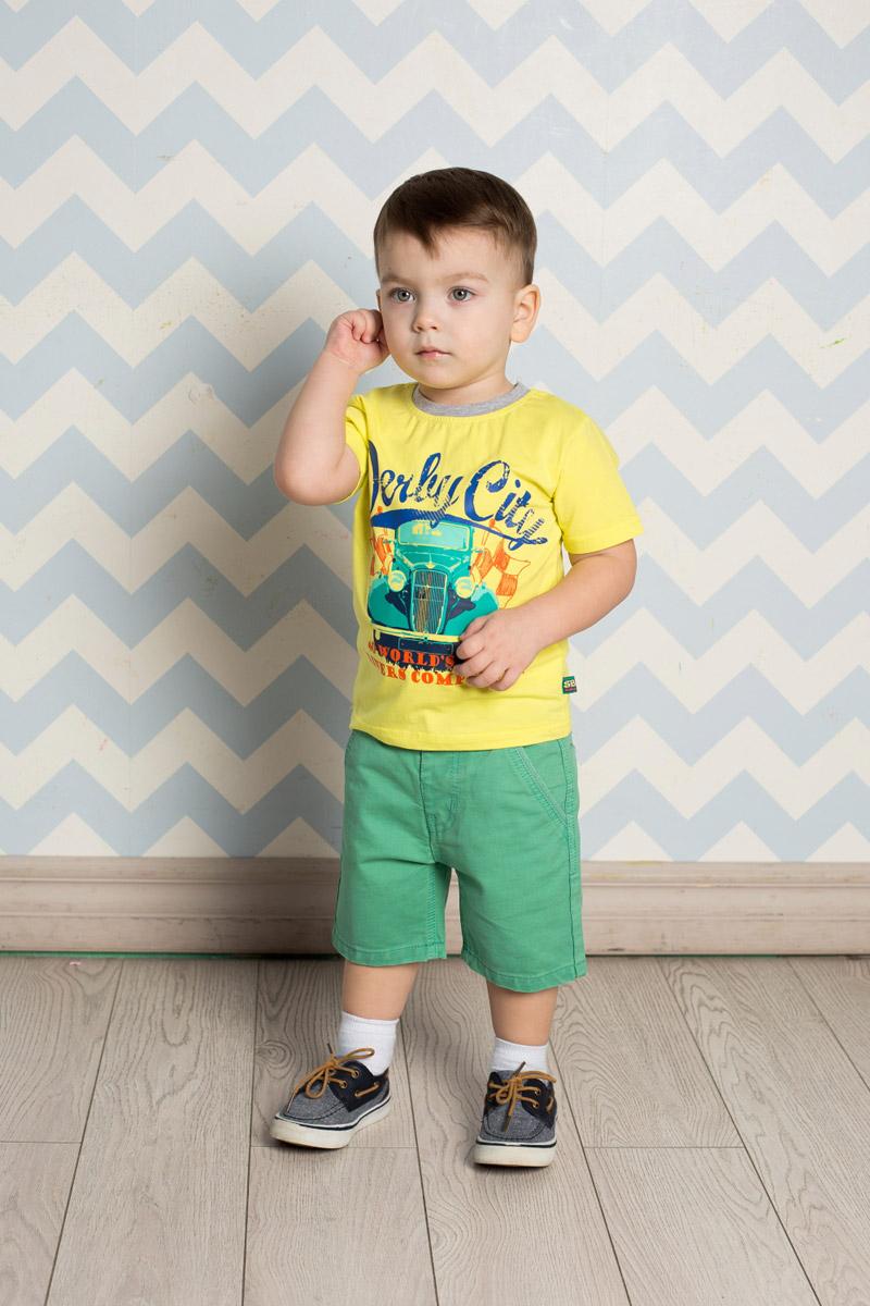 Футболка для мальчика Sweet Berry Baby, цвет: желтый. 711004. Размер 80711004Яркая футболка для мальчика Sweet Berry, выполненная из качественного эластичного хлопка, станет отличным дополнением к детскому гардеробу. Модель с круглым вырезом горловины оформлена оригинальным принтом. Воротник дополнен мягкой трикотажной резинкой контрастного цвета.