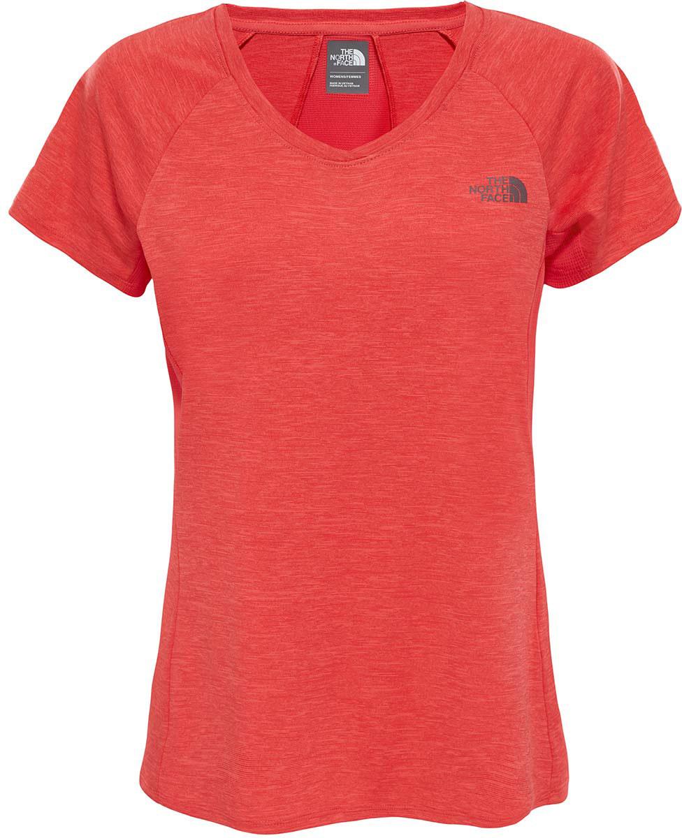 Футболка для бега женская The North Face W Initiative S/S, цвет: красный. T92UXZQBF. Размер L (48/50)T92UXZQBFЖенская футболка The North Face - отличный вариант для каждодневного использования. У модели укороченные рукава и женственный V-образный вырез.