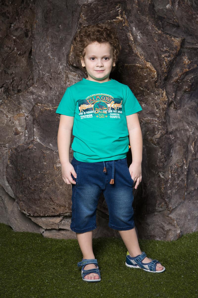 Футболка для мальчика Sweet Berry, цвет: изумруд. 713059. Размер 122713059Яркая футболка для мальчика Sweet Berry, выполненная из качественного эластичного хлопка, станет отличным дополнением к детскому гардеробу. Модель с круглым вырезом горловины оформлена оригинальным принтом. Воротник дополнен мягкой трикотажной резинкой.