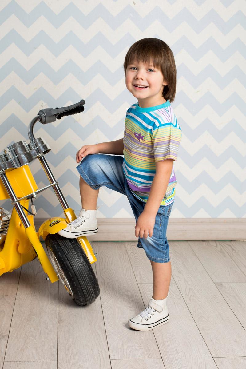 Футболка для мальчика Sweet Berry Baby, цвет: белый, голубой, желтый, сиреневый. 711041. Размер 98711041Яркая футболка для мальчика Sweet Berry, выполненная из качественного эластичного хлопка, станет отличным дополнением к детскому гардеробу. Модель с круглым вырезом горловины оформлена оригинальным принтом в полоску. Воротник дополнен мягкой трикотажной резинкой.