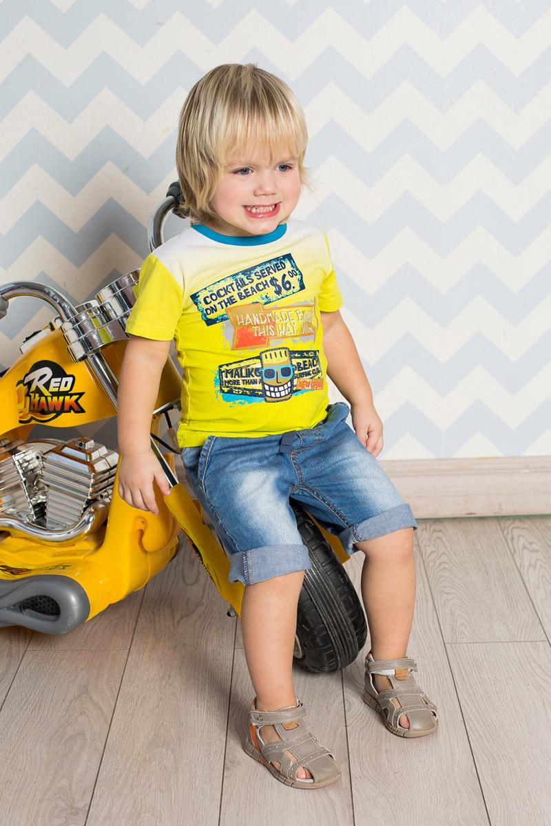Футболка для мальчика Sweet Berry Baby, цвет: салатовый. 711018. Размер 98711018Яркая футболка для мальчика Sweet Berry, выполненная из качественного эластичного хлопка градиентного цвета, станет отличным дополнением к детскому гардеробу. Модель с круглым вырезом горловины оформлена оригинальным принтом. Воротник дополнен мягкой трикотажной резинкой контрастного цвета.