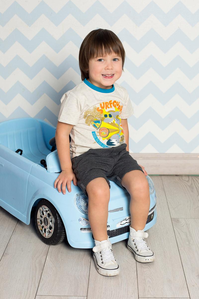 Футболка для мальчика Sweet Berry Baby, цвет: серый меланж. 711021. Размер 92711021Яркая футболка для мальчика Sweet Berry, выполненная из качественного эластичного хлопка, станет отличным дополнением к детскому гардеробу. Модель с круглым вырезом горловины оформлена оригинальным принтом. Воротник дополнен мягкой трикотажной резинкой контрастного цвета.