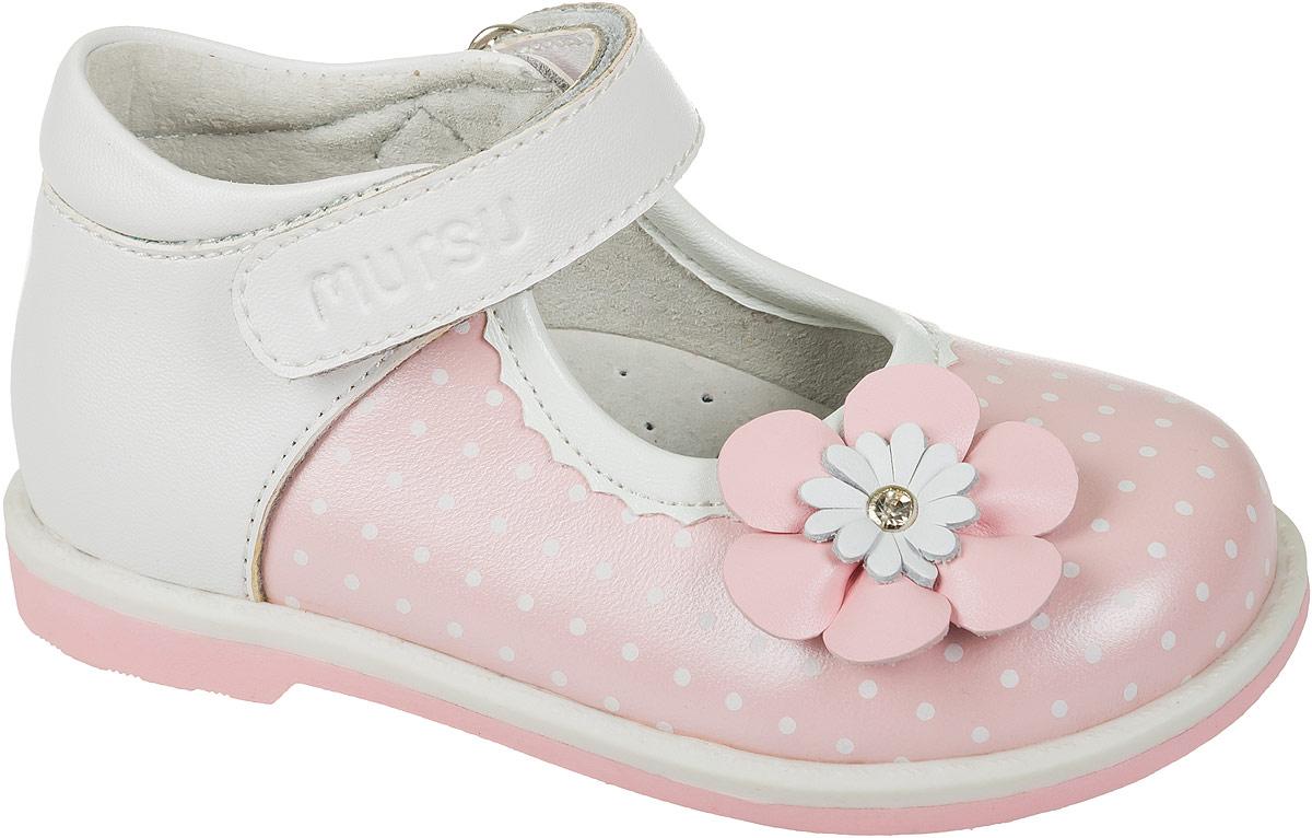 Туфли для девочки Mursu, цвет: белый, розовый. 101303. Размер 25101303Комфортные и практичные туфли для девочки Mursu - отличный вариант на каждый день. Модель выполнена из качественной натуральной кожи и оформлена декоративным цветком. Ремешок с липучкой надежно зафиксирует модель на ноге. Подошва выполнена с широким низким каблуком.