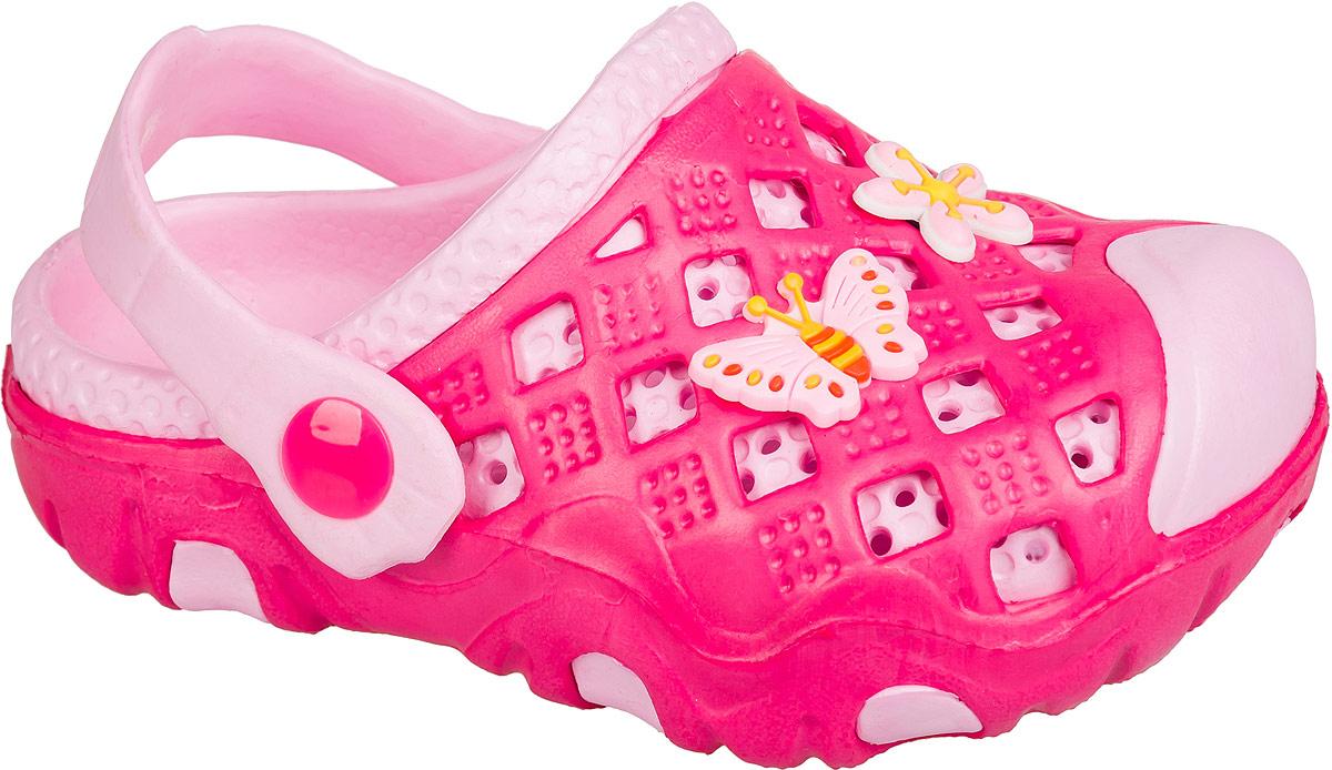 Кроксы для девочки Mursu, цвет: фуксия, розовый. 101404. Размер 26101404Удобные кроксы Mursu незаменимы для пляжного сезона. Легкая модель полностью выполнена из качественного полимерного материала. У кроксов имеется подвижный ремешок с пластиковыми кнопками. Носочная часть оформлена оригинальными декоративными элементами. Большое количество дырочек в верхней части обуви обеспечивает вентиляцию ноги.