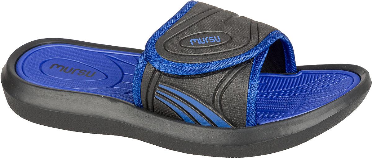 Шлепанцы для мальчика Mursu, цвет: черный, синий. 101432. Размер 35101432