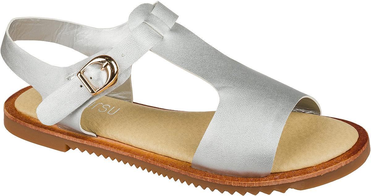 Босоножки для девочки Mursu, цвет: серебряный. 101518. Размер 38101518Босоножки для девочки Mursu выполнены из качественной искусственной кожи. Ремешок с металлической пряжкой обеспечит оптимальную посадку модели на ноге. Кожаная стелька придаст максимальный комфорт при движении. Подошва оснащена рифлением для лучшего сцепления с различными поверхностями.