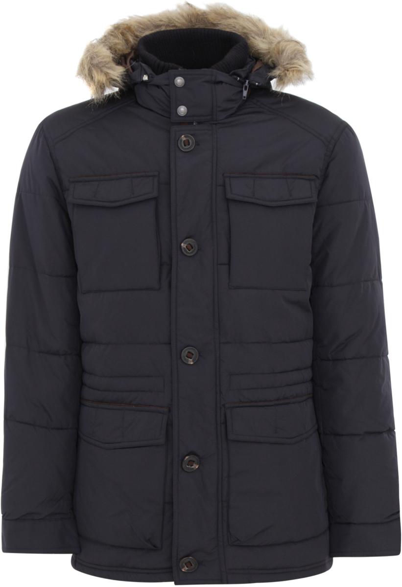 Куртка мужская oodji Lab, цвет: темно-синий. 1L402013M/44026N/7900N. Размер M-182 (50-182)1L402013M/44026N/7900NМужская удлиненная куртка oodji Lab выполнена из высококачественного материала. В качестве подкладки и утеплителя используется полиэстер. Модель с капюшоном застегивается на застежку-молнию и дополнительно ветрозащитным клапаном на кнопки. Капюшон дополнен мехом. Спереди расположено множество карманов.