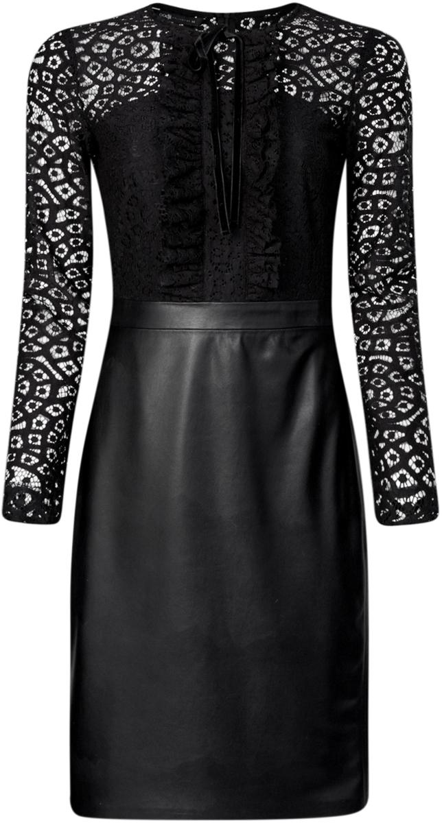 Платье oodji Collection, цвет: черный. 21913014/45945/2900N. Размер 38-170 (44-170)21913014/45945/2900NКомбинированное платье oodji Collection - стильный вариант не только для офиса, но и для любого мероприятия. Модель средней длины с имитацией 2 в 1 стилизована под блузку с юбкой. Верх платья с круглым вырезом горловины и длинными рукавами выполнен из кружевного материала и оформлен рюшами и бантиком. Низ платья выполнен из искусственной кожи и дополнен разрезом. Платье застегивается на скрытую застежку-молнию по спинке.