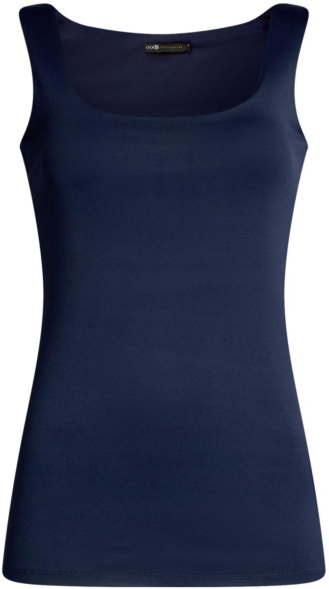 Майка женская oodji Collection, цвет: темно-синий. 24315002-1B/45297/7900N. Размер XS (42)24315002-1B/45297/7900NМайка oodji Collection выполнена из эластичной ткани. Модель на широких бретелях и вырезом горловины каре.