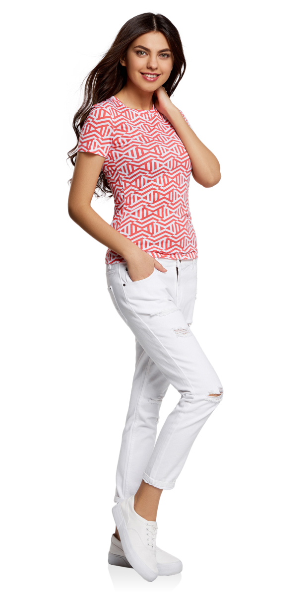 Футболка женская oodji Collection, цвет: белый, розовый. 24701007-1/45475/1041G. Размер XS (42)24701007-1/45475/1041GФутболка прямого силуэта с круглым вырезом горловины и короткими рукавами оформлена оригинальным принтом.