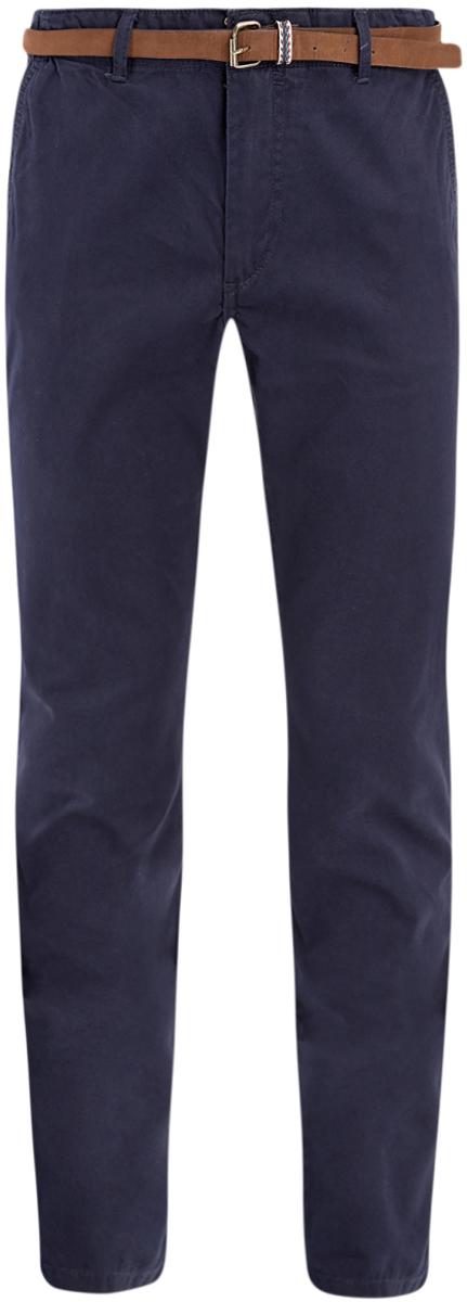 Брюки мужские oodji Basic, цвет: индиго. 2B150019M/25735N/7800N. Размер 40-182 (48-182)2B150019M/25735N/7800NМужские брюки oodji Basic выполнены из высококачественного материала. Модель-чинос стандартной посадки застегивается на пуговицу в поясе и ширинку на застежке-молнии. Пояс имеет шлевки для ремня. Спереди брюки дополнены втачными карманами, сзади - прорезными на пуговицах.
