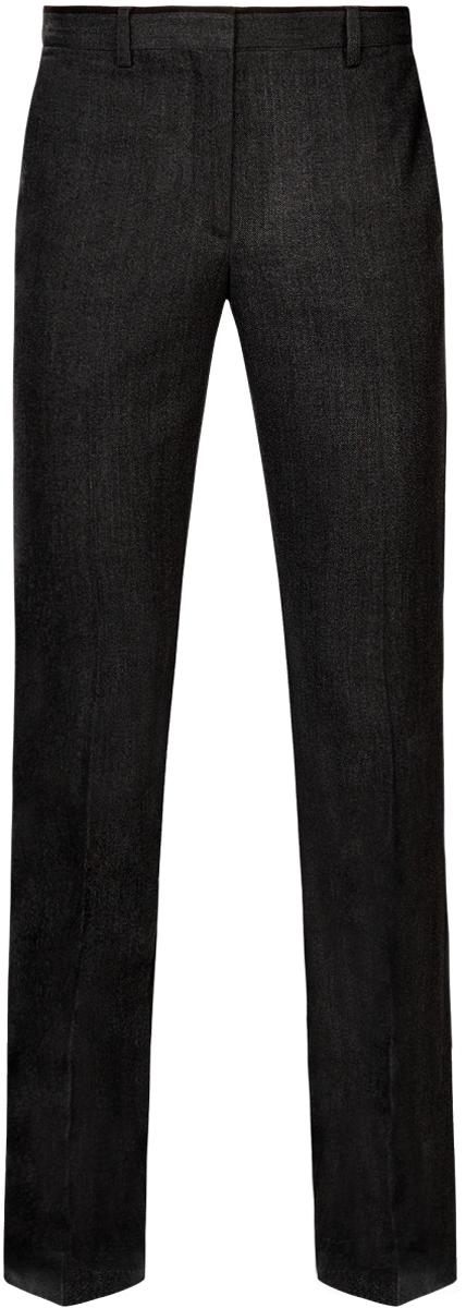 Брюки мужские oodji Lab, цвет: темно-серый, черный. 2L200162M/44435N/2529B. Размер 42-182 (50-182)2L200162M/44435N/2529BМужские брюки oodji Lab выполнены из полиэстера с добавлением вискозы. Модель Slim застегивается на крючок в поясе, внутреннюю пуговицу и ширинку на молнии. Имеются шлевки для ремня. Спереди расположены два втачных кармана, сзади - два прорезных кармана.Изделие оформлено стрелками.