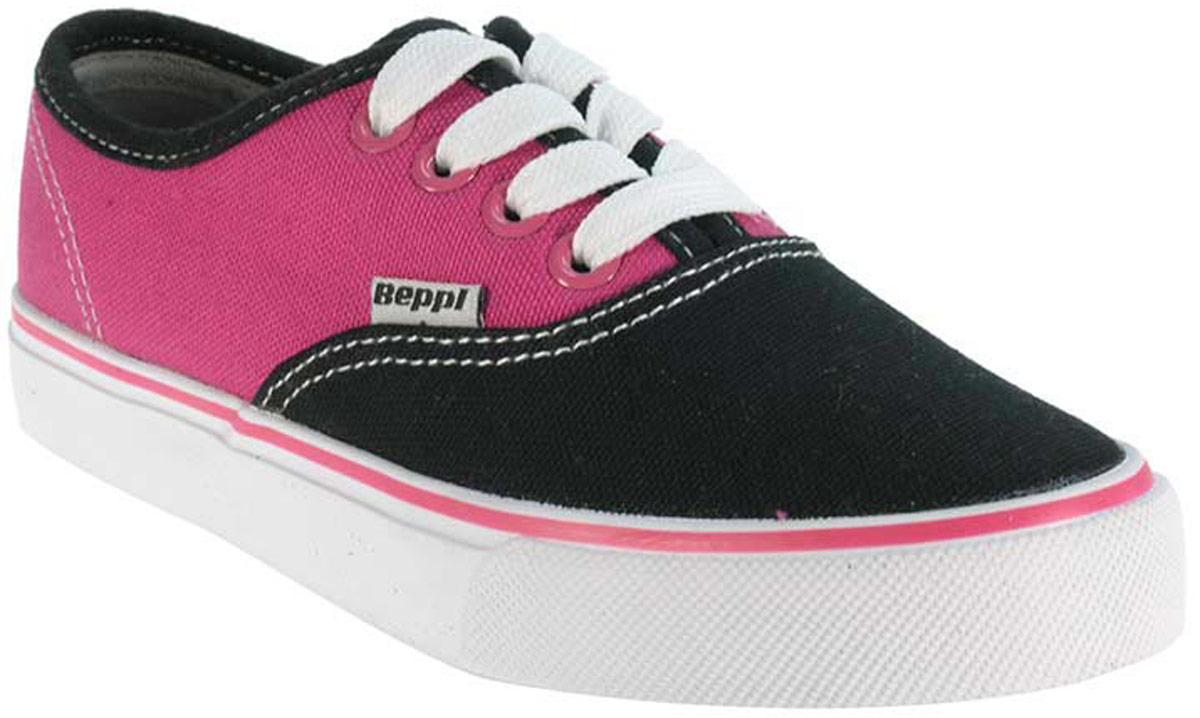 Кеды детские Beppi, цвет: розовый, черный. 2133132. Размер 282133132Модные детские кеды от Beppi выполнены из плотного текстиля. Внутренняя поверхность и стелька из текстиля комфортны при движении. Шнуровка надежно зафиксирует модель на ноге. Подошва дополнена рифлением.