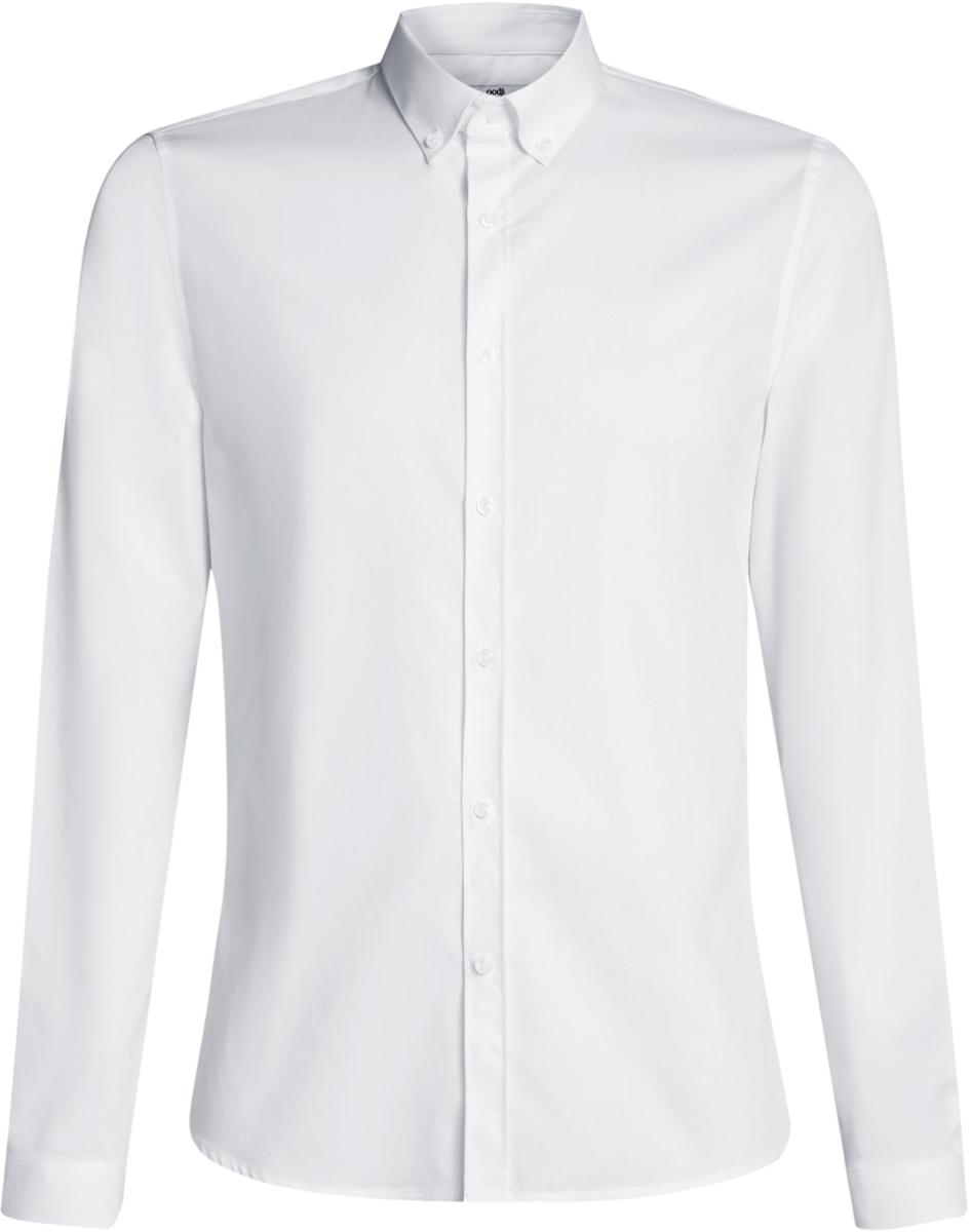 Рубашка мужская oodji Basic, цвет: белый. 3B140002M/34146N/1000N. Размер 41-182 (50-182)3B140002M/34146N/1000NМужская базовая рубашка от oodji выполнена из натурального хлопка. Модель приталенного кроя с длинными рукавамизастегивается на пуговицы.