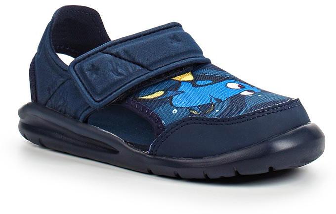 Сандалии для мальчика adidas Disney Nemo FortaSw, цвет: темно-синий. BA9334. Размер 25BA9334В этих очаровательных пляжных сандаликах с осьминогом Хэнком из мультфильма В поисках Дори малышам будет удобно играть у бассейна или на берегу моря. Текстильная подкладка обеспечивает комфорт маленьким ножкам, а мягкие ремешки на липучке облегчают надевание и снимание.