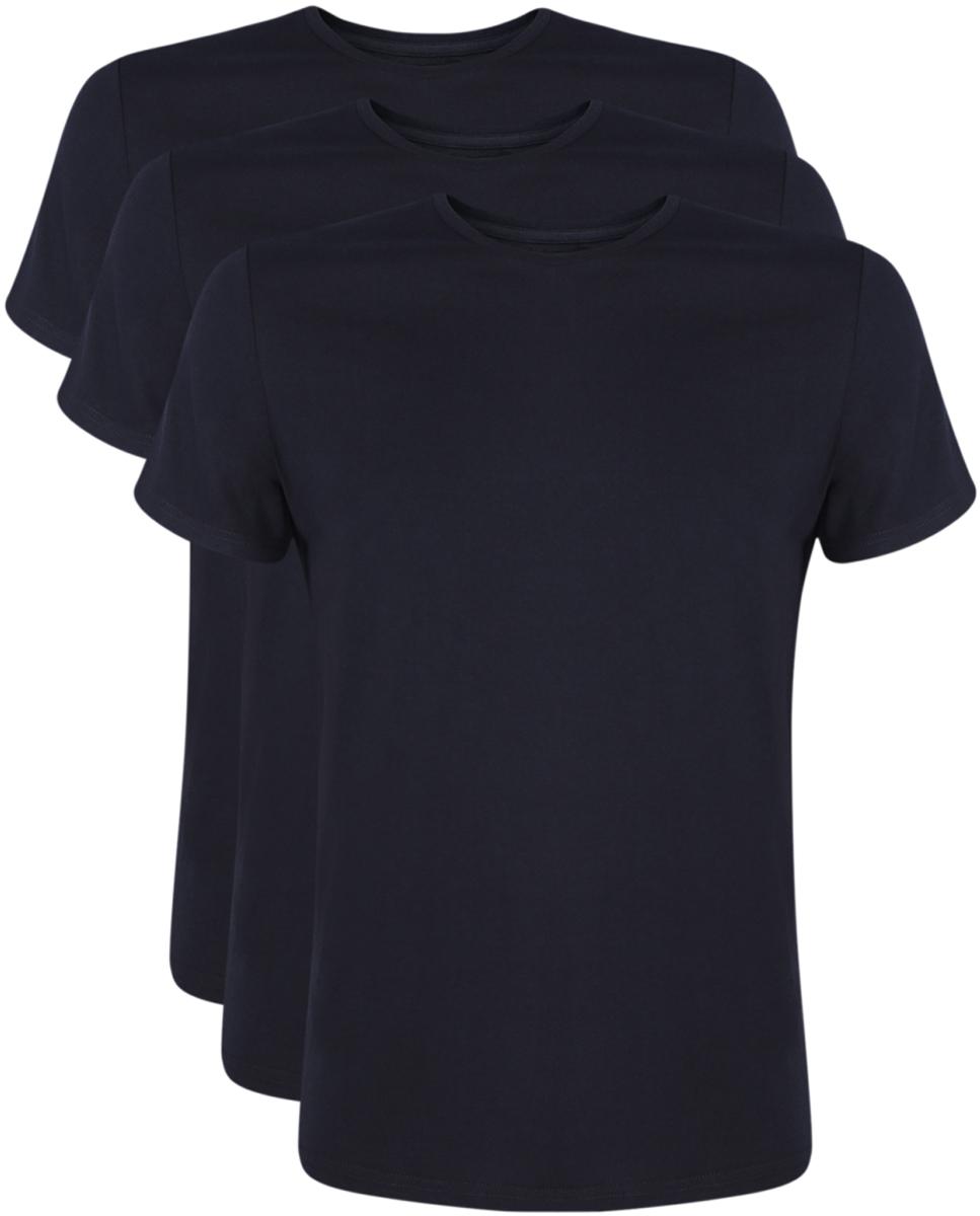 Футболка мужская oodji Basic, цвет: черный, 3 шт. 5B621002T3/44135N/2900N. Размер XL (56)5B621002T3/44135N/2900NМужская футболка oodji Basic изготовлена из высококачественного натурального хлопка. Модель с короткими рукавами и круглым вырезом горловины дополнена эластичной вставкой в цвет изделия по горловине. В комплекте 3 футболки.