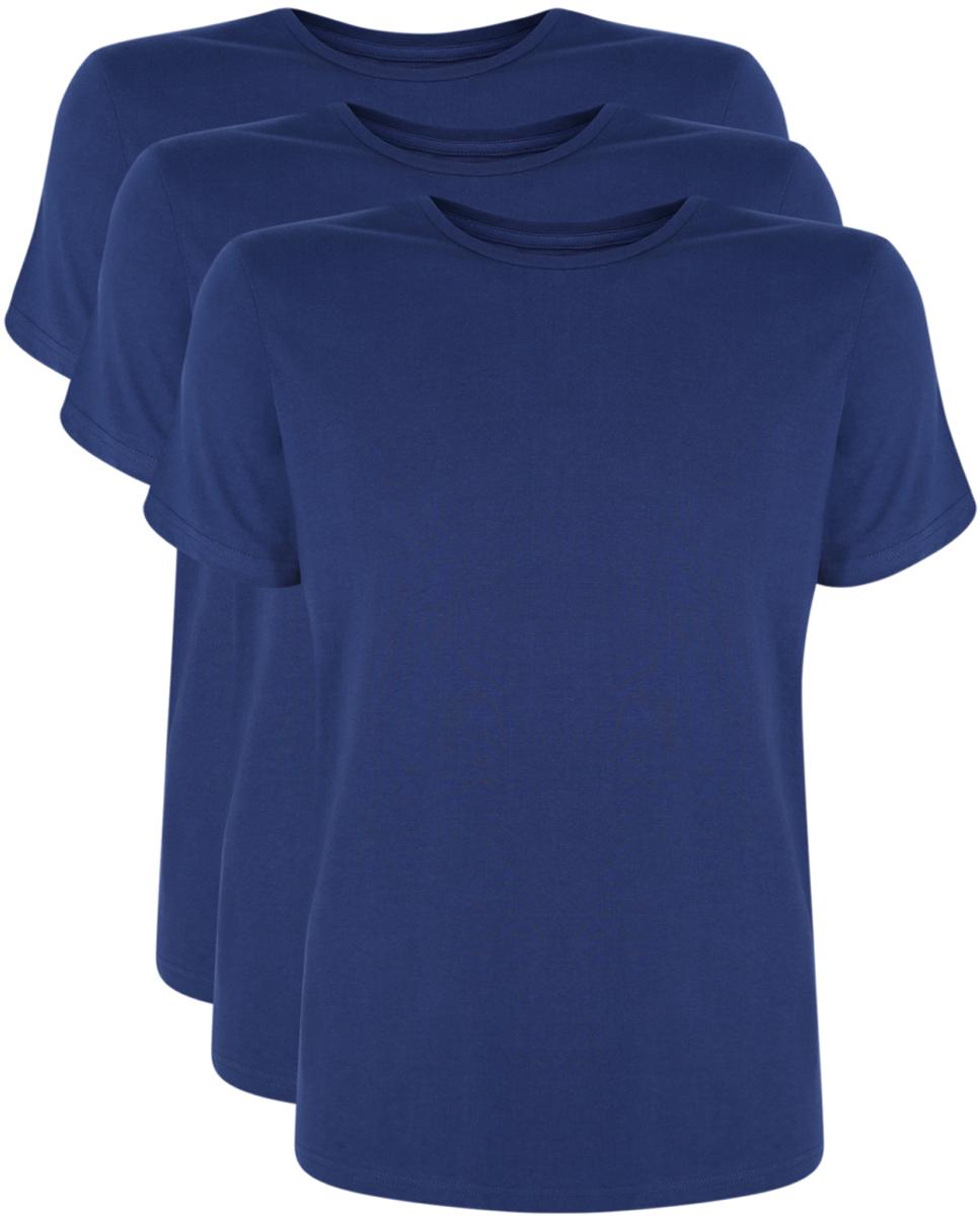 Футболка мужская oodji Basic, цвет: темно-синий, 3 шт. 5B621002T3/44135N/7900N. Размер M (50)5B621002T3/44135N/7900NМужская футболка oodji Basic изготовлена из высококачественного натурального хлопка. Модель с короткими рукавами и круглым вырезом горловины дополнена эластичной вставкой в цвет изделия по горловине. В комплекте 3 футболки.