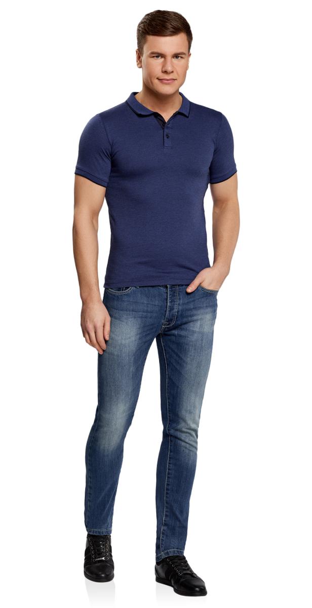 Поло мужское oodji Lab, цвет: синий, темно-синий. 5L412232M/46201N/7579J. Размер XXL (58/60)5L412232M/46201N/7579JМужское поло с короткими рукавами и отложным воротником выполнено из натурального хлопка. Модель жаккардовая с контрастной отделкой на груди застегивается на пуговицы.