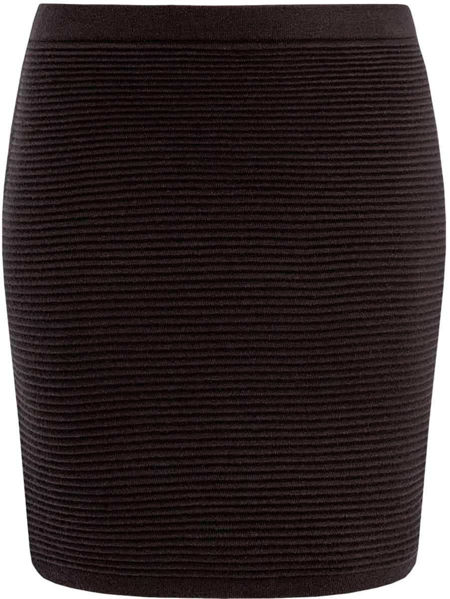 Юбка oodji Ultra, цвет: черный. 63612028-1/45429/2900N. Размер M (46)63612028-1/45429/2900NВязаная мини-юбка oodji в рубчик выполнена из высококачественной пряжи.