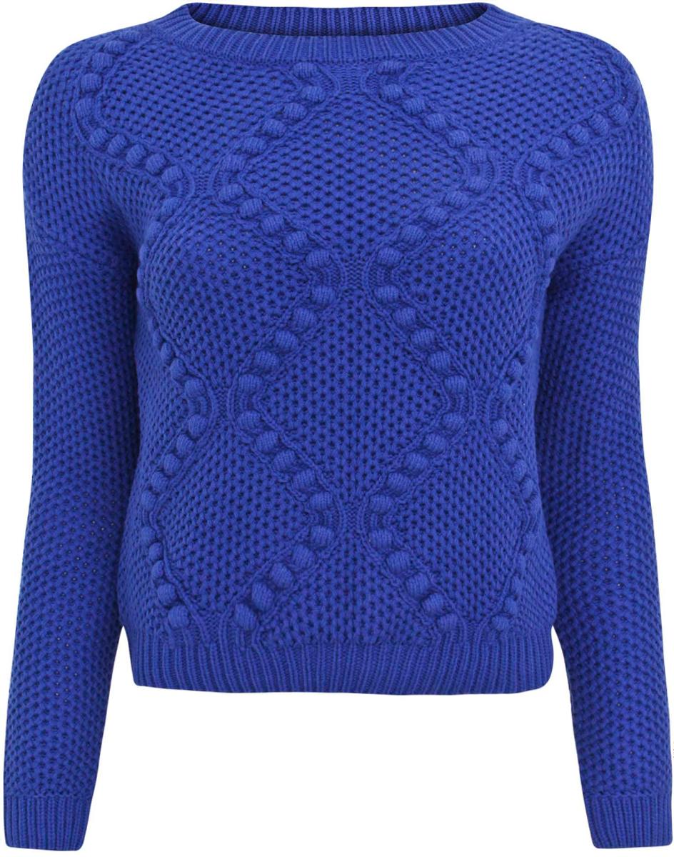 Джемпер женский oodji Ultra, цвет: синий. 63805276/45289/7500N. Размер L (48)63805276/45289/7500NУкороченный женский джемпер с круглым вырезом горловины и длинными рукавами выполнен из пряжи сложного состава.
