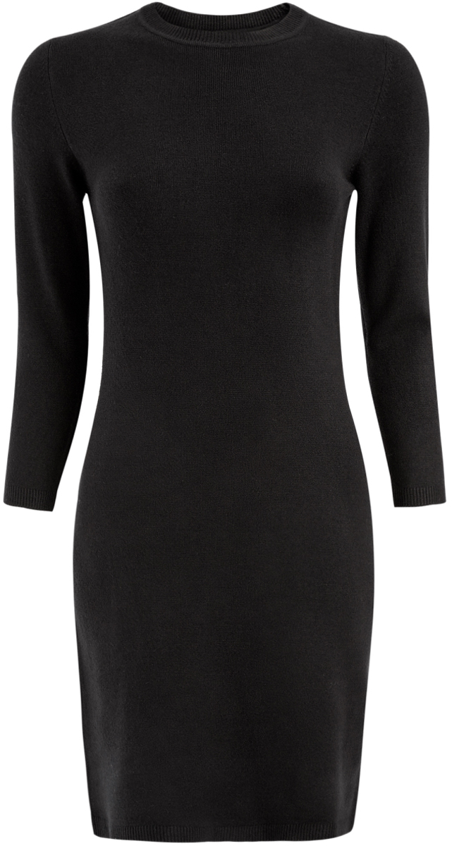 Платье oodji Ultra, цвет: черный. 63912222B/46244/2900N. Размер M (46-170)63912222B/46244/2900NОблегающее платье oodji Ultra выполнено из мягкого трикотажа мелкой вязки. Модель мини-длины с круглым вырезом горловины и рукавами 3/4 выгодно подчеркнет достоинства фигуры.
