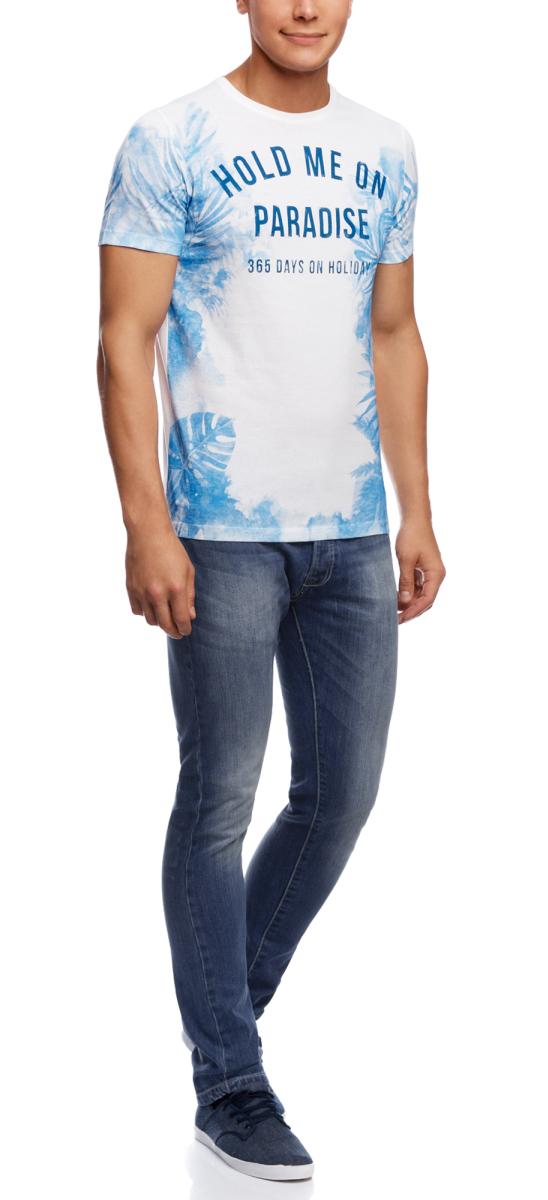 Джинсы мужские oodji Basic, цвет: синий джинс. 6B120039M/39989N/7500W. Размер 32-34 (50-34)6B120039M/39989N/7500WМужские джинсы oodji Basic выполнены из высококачественного материала. Модель-слим средней посадки по поясу застегивается на пуговицу и имеют ширинку на застежке-молнии, а также шлевки для ремня. Джинсы имеют классический пятикарманный крой: спереди - два втачных кармана и один маленький накладной, а сзади - два накладных кармана.