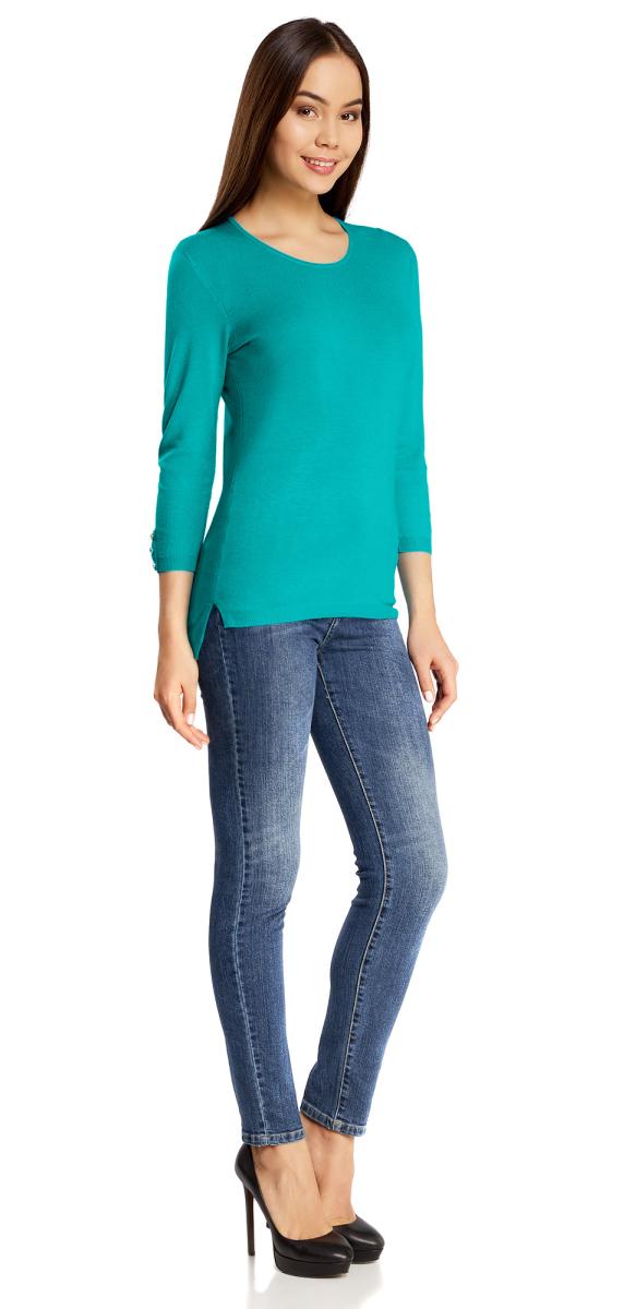 Джемпер женский oodji Collection, цвет: бирюзовый. 73812587/42179/7300N. Размер XS (42)73812587/42179/7300NУютный женский джемпер с круглым вырезом горловины и рукавами 3/4 выполнен из вискозного материала.