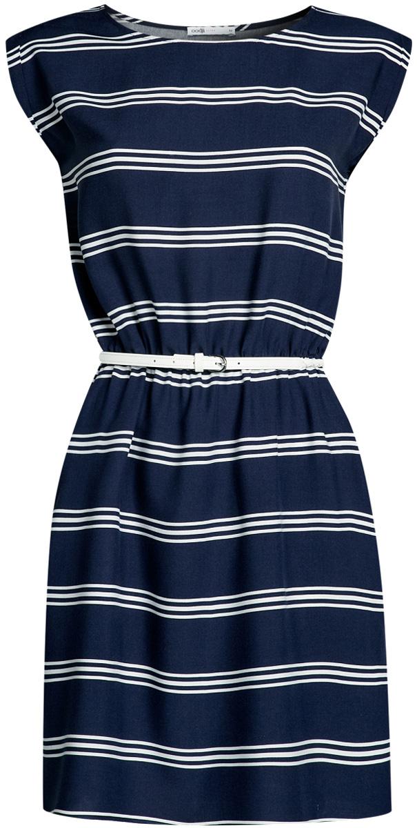 Платье oodji Ultra, цвет: белый, темно-синий. 11910073-4B/26346/1279S. Размер 36-170 (42-170)11910073-4B/26346/1279SПлатье oodji Ultra, выгодно подчеркивающее достоинства фигуры, выполнено из легкой струящейся ткани и оформлено принтом в полоску. Модель мини-длины с круглым вырезом горловины и короткими рукавами дополнена двумя прорезными карманами на юбке.В комплект с платьемвходит узкий ремень из искусственной кожи с металлической пряжкой.