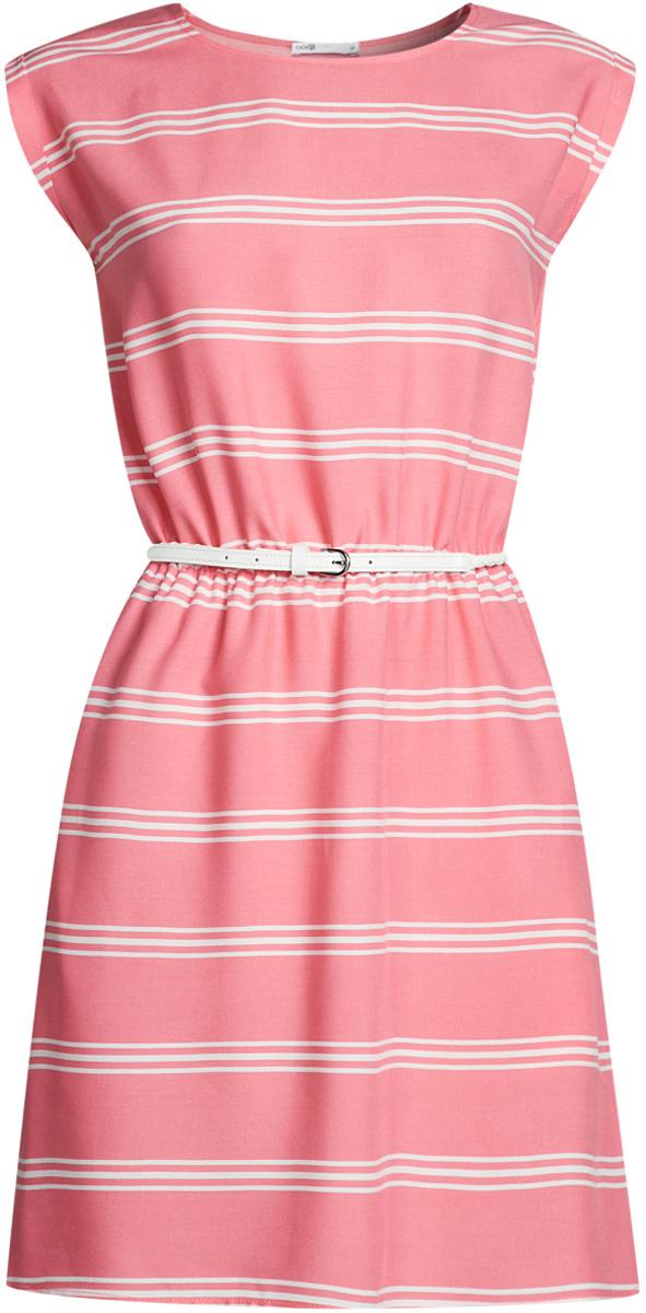 Платье oodji Ultra, цвет: ярко-розовый, белый. 11910073-4B/26346/4D12S. Размер 34-170 (40-170)11910073-4B/26346/4D12SПлатье oodji Ultra, выгодно подчеркивающее достоинства фигуры, выполнено из легкой струящейся ткани и оформлено принтом в полоску. Модель мини-длины с круглым вырезом горловины и короткими рукавами дополнена двумя прорезными карманами на юбке.В комплект с платьемвходит узкий ремень из искусственной кожи с металлической пряжкой.