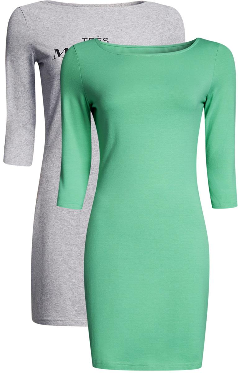Платье oodji Ultra, цвет: светло-серый, ментоловый, 2 шт. 14001071T2/46148/2065N. Размер L (48)14001071T2/46148/2065NКомплект из двух мини-платьев oodji Ultra изготовлен из хлопка с добавлением эластана. Обтягивающие платья с круглым вырезом и рукавами 3/4 выполнены в лаконичном дизайне. В комплекте два платья.