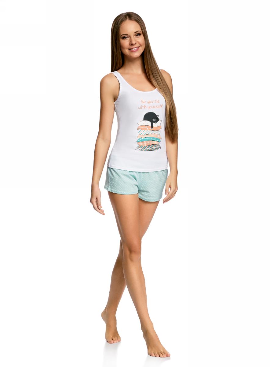 Пижама женская oodji Ultra, цвет: белый, бирюзовый. 56002152-2/43770/1073P. Размер XS (42)56002152-2/43770/1073PЖенская пижама от oodji, состоящая из майки и шорт, выполнена из натурального хлопка. Майка спереди оформлена принтом, шорты – из принтованной ткани.